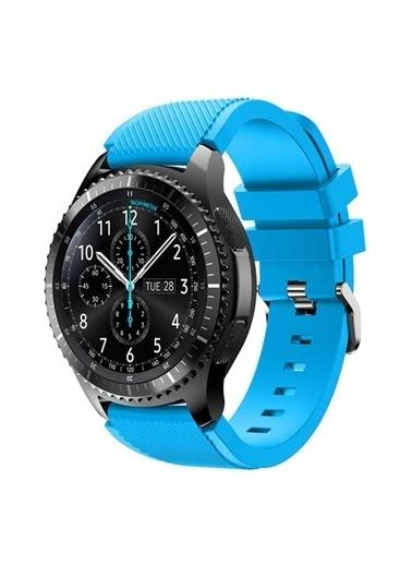 Techmaster Samsung Galaxy Watch 3 45mm Silikon Tme Kordon Kayış Mavi